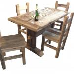 Tavolo e sedie in ROVERE ANTICO