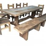 Tavolo sedie panche in ROVERE ANTICO